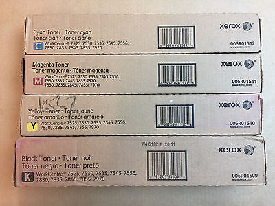 Set of 4 OEM Xerox 7525 7545 7830 7855i 7970 + 006R01509 6R01510 R01511 R01512