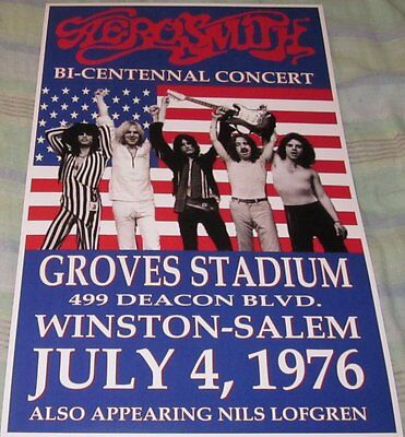 Aerosmith 1976 Groves Stadium Replica Concert Poster W/top Loader
