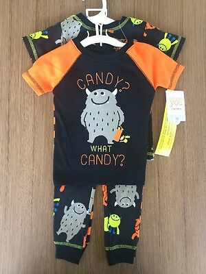 """NEW Carters JOY 18 Month Baby Boy 2 Sets Of Pajamas """"What Candy?"""" PJ's Monsters"""