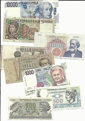 Italy 8 pieces banknote lot ref#0720