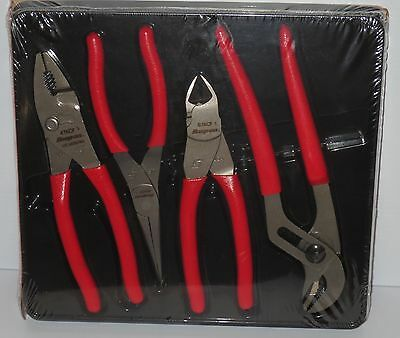 Snap-on Tools 4 Piece Pliers Cutters Set PL400B *BRAND NEW 2017* RED SOFT GRIPS