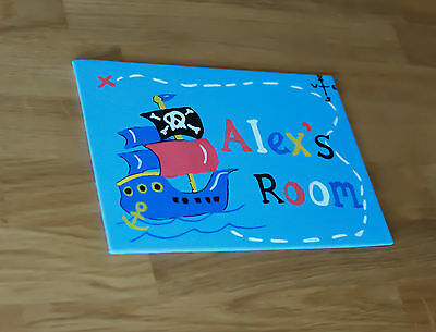 Personalised Childrens Plaque Bedroom Door Sign Boys Pirate Ship Next To Name