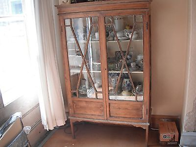 A Lovely Old Stripped Pine Edwardian Display Cabinet