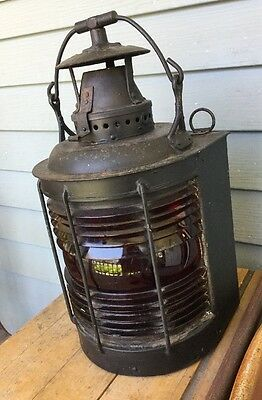 Antique/Vintage Maritime Lantern Red Glass