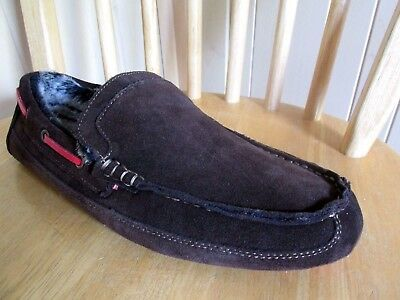 NEW CLARKS Leather Men SLIPPERS HOUSE Lounge Carpet SHOES Suede KITE Storm Grey