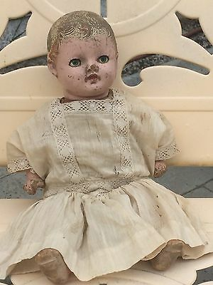 "Vintage Composition Doll Dimples, Sleep Eyes, Crier, 12"" Antique ""A Petite Doll"""