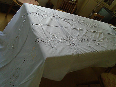 Large Vintage Circa 1980's Embroidered Cut Work  Tablecloth - 63 X 117 Inches