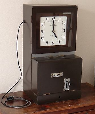 Vintage National Time Recorder clocking in clock / machine mains 240v