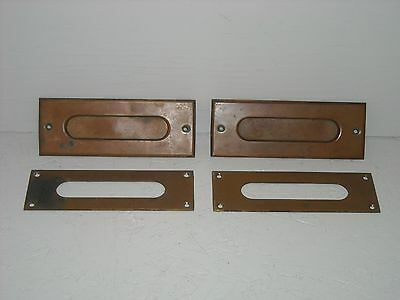 Pair of matching vintage brass door letter slot w/back plate.