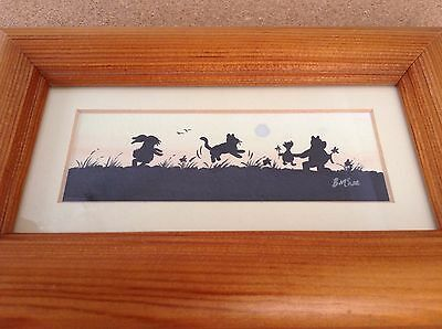 Watercolour & Silhouette Picture of Winnie the Pooh & Friends B McNee Pine Frame