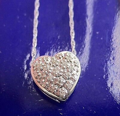 "14K White Gold Necklace With 16"" Chain And Diamond Heart Shaped Pendant"
