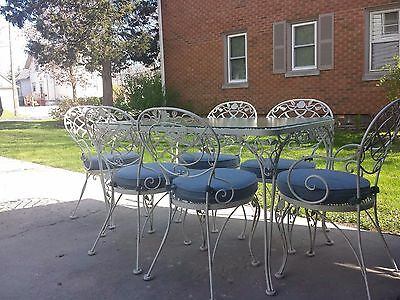 Vintage wrought iron Woodard chantilly roses  Table&six chairs patio set