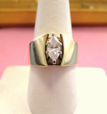 Vintage Gorgeous Engagement Ring 14K Yellow Gold Marquise simulated diamond sz 9