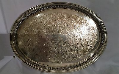 """Vintage OVAL silver plate serving tray Sheridan 14"""" tray"""