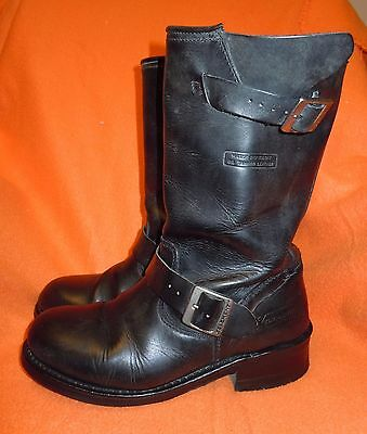 Xelement Classic Engineer Harness Motorcycle Black Leather Biker Boots (Size 8)