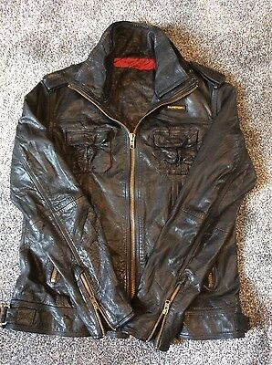 Superdry Mens Black Leather Jacket Ryan Design Size Xl