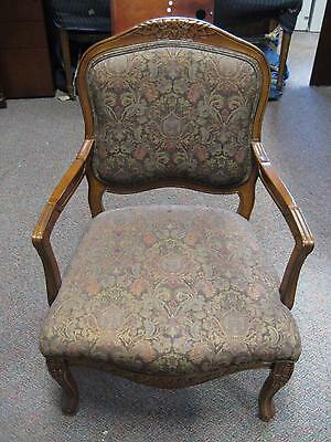 French Regency Floral Print Upholstery Cushion Wooden Arm Chairs Carved Dark