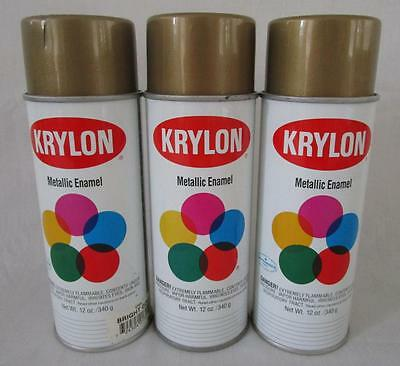 3 Vintage Nos 1992 & 1993 Krylon Spray Paint Can Bright Gold