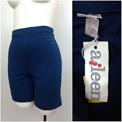 Vintage NOS 1960s Blue Cotton High Waist Hot Pants Short Shorts XS Rockabilly