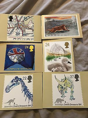 Selection Of 6 Collectible Royal Mail Stamp Postcards