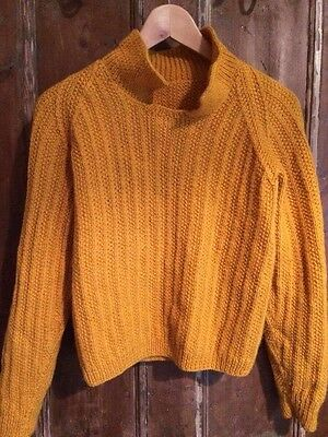 mustard yellow Hand knitted jumper#7542