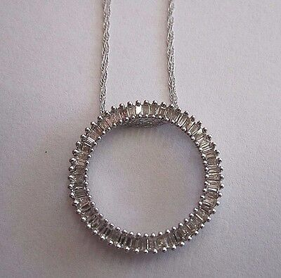 """14K White Gold Diamond Necklace With 18"""" Double Chain And Hoop Diamond Pendant"""