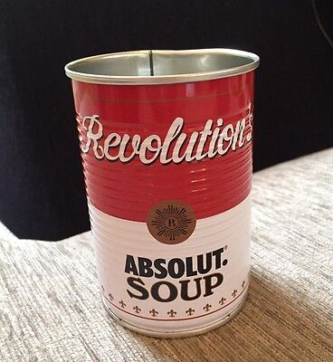 Absolut Vodka Andy Warhol Soup Tin Can. Drinks Glass. Display. Art