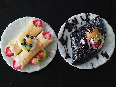 Dollhouse Miniature Cold Fruit Crepe & Charcoal Crepe Dessert Ice Cream Food