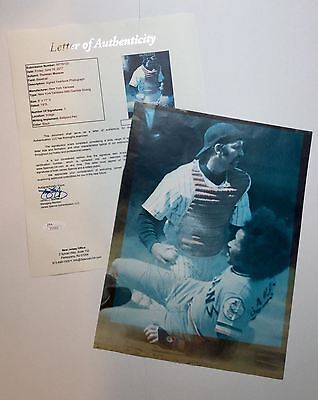 Thurman Munson Signed 1975 NY Yankees Year Book Page JSA LOA Extremely Rare