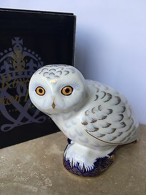 Royal Crown Derby Snowy Owl Collectors Guild Paperweight 1st Quality Boxed