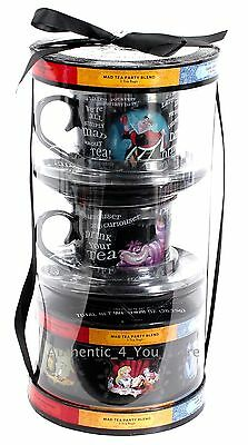 Disney Parks Alice Wonderland Tea for Two Cups Saucers & Sample Pack 5 Flavors