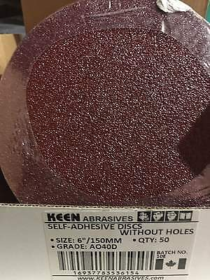 "Pack of 50, KEEN #36154,  40 Grit 6"" sticky PSA Paper Sanding Discs"