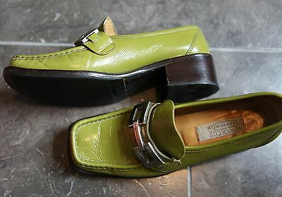 Patrick Cox wannabe green patent leather loafers 39.5, UK 6.5