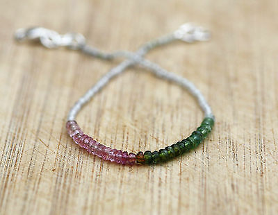 Natural Watermelon Tourmaline & Green Amethyst Bracelet in Sterling Silver OOAK