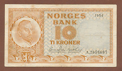 "Norway, 10 Kroner 1954 (A 2858687) P-31a VF ""first prefix"""