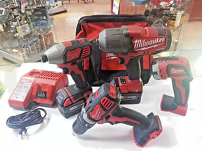 """Milwaukee Combo Kit M18 5 Amp 1/2"""" Impact 2896-23 With Extra Drill 86701-1 Eb"""