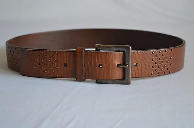 """Fossil Women's Studded Brown Leather Belt - Size M (34"""" - 40"""""""