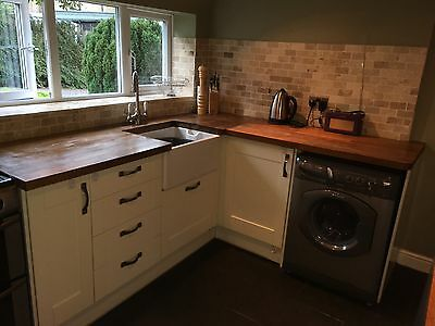 Magnet shaker style kitchen in cream with solid oak worktops