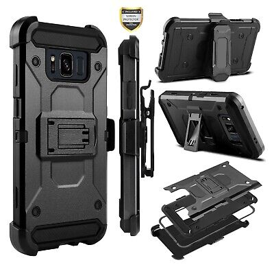 Samsung GALAXY S8 /Plus Hybrid Armor Rugged Case Cover Holster Screen Black +Kit
