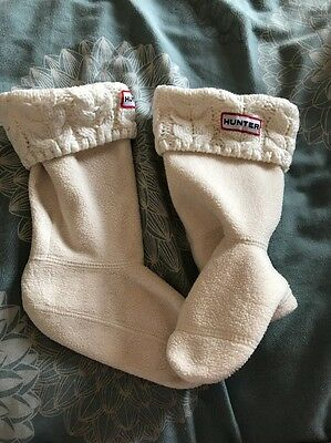 Girls Hunter Wellies Boot Socks Cream Cable Knit Size Xs Shoe 11-13