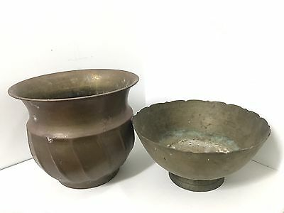 Pair Of Vintage Large Brass Bowls