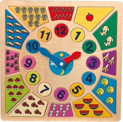 Children's wooden colourful clock puzzle. Educational/activity learning time toy