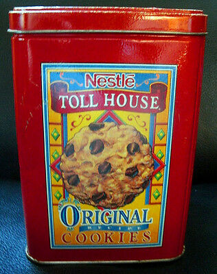 "Vintage ""Nestle Toll House Cookies"" Red Tin with Lid"