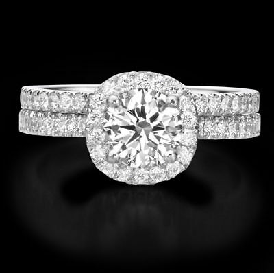 1.5 Ct Round Cut Diamond D VS2 Engagement Ring Set 14K White Gold Enhanced