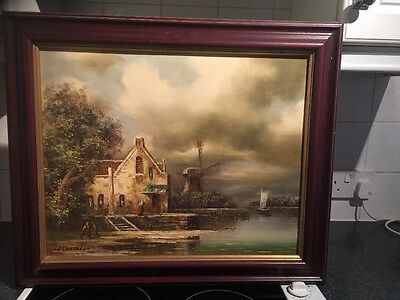 Oil Painting Windmill Scene Signed I. Costello Framed On board