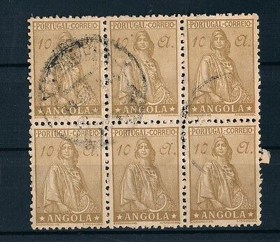 Angola Ceres 1932 Sc#261 BLock of 6 Stamps 10 a Used VF