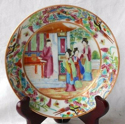 C19Th Chinese Canton Saucer Dish Decorated With People Flowers Birds Insects