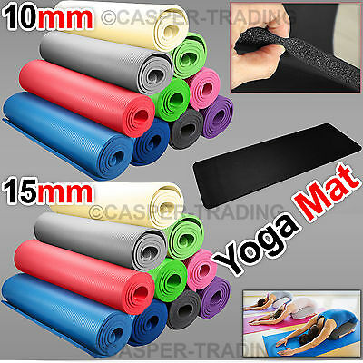 Non Slip Yoga Mat Exercise Gym Fitness Pilates Physio 10/15mm Thick Foam Camping