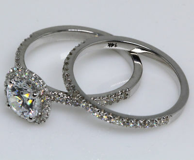 1.6 Ct Round Cut Diamond D VS2 Engagement Ring Set 14K White Gold Enhanced