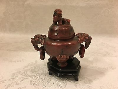 Antique Chinese Carved Rhodonite Foo Dog Incense Pot With Lid On Wood Base